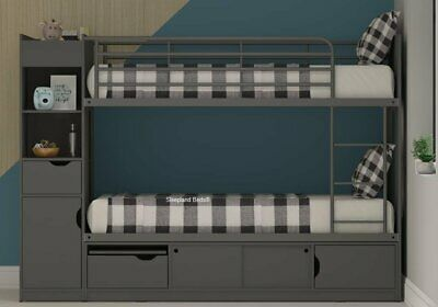 3ft Platinum Bunk Beds With Extra Storage - Oak - Beech - White | Reversible • 449£