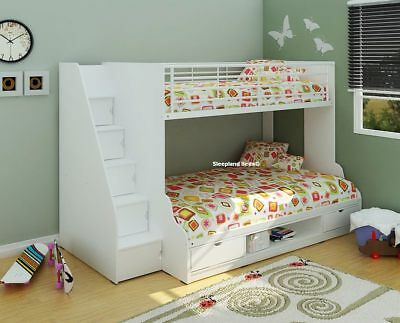 Trio White Double Bunk Beds Storage Staircase - 3ft Lower 4ft Bed New • 479£