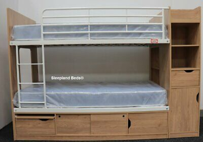 Kids Bunk Bed With Storage - Single Platinum Storage Bed  - Oak Or Beech & White • 579£