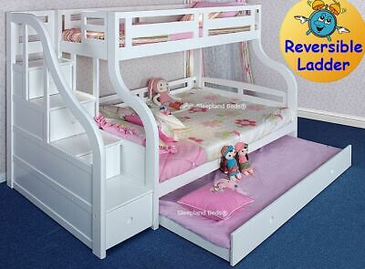 Pine Or White Triple Bunk Beds - Stairs And Trundle Bed - Double Luxury Bunks • 1,039£