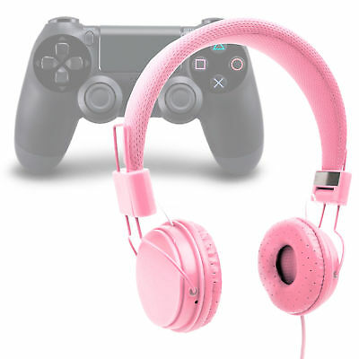 Lightweight Kids Padded Headphones In Pink For Sony Playstation DualShock 4 • 14.99£