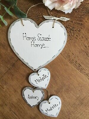 Personalised First Home Sweet Home Sign Plaque Heart ,gift,new Home Family Pet • 7.45£
