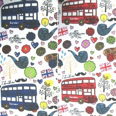 Cotton Canvas Fabric London Buses British Union Jack  150cm Wide • 4.80£