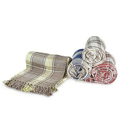 £17.99 • Buy Large 100% Cotton Highland Tartan Check Sofa / Bed Throw 4 Colours & 5 Sizes