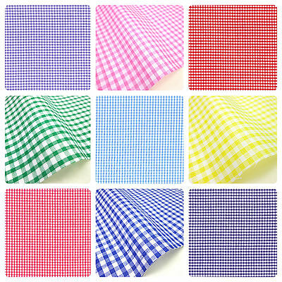 Gingham Polycotton Fabric 1/8  Check 112cm 44  Wide Sewing Dressmaking Curtains • 4.99£