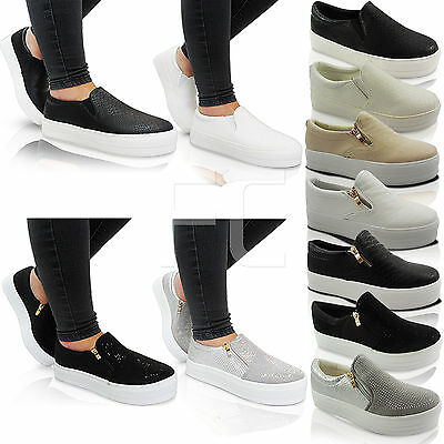 New Womens Ladies Chunky Platform Slip On Zip Skater Trainers Pumps Shoes Size • 60£