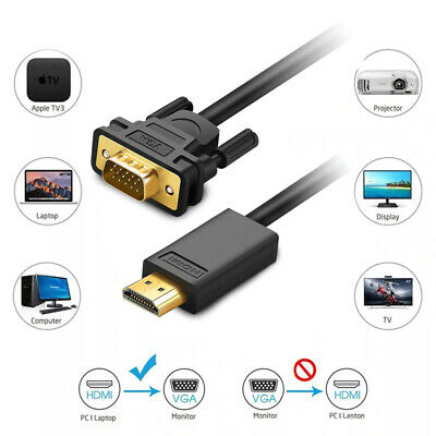 HDMI Male To VGA Male Video Adapter Cable Lead For PC TV PS4 Computer Monitor • 9.95£