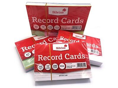 £1.79 • Buy Revision/Flash/Index Silvine Record Cards - White/Ruled/Coloured FREE P&P