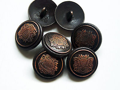 £4.66 • Buy 8pc 23mm German Russian Inspired Copper Colour Metal Military Button  2230