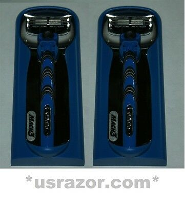 $35.99 • Buy * 2 Gillette Mach3 RAZOR Metal Handle Cartridge Fit Turbo M3 Power Made In USA
