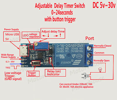 AU2.77 • Buy DC 5v 12v 24v Signal Trigger Delay Time Turn On Switch Timer Board Relay Module