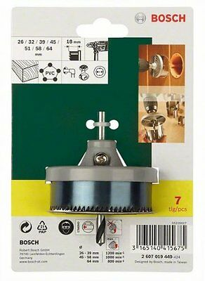 £13.40 • Buy 7 BOSCH HOLE SAW KIT CIRCLE CUTTER ROUND DRILL WOOD PVC DOWNLIGHTS 26 - 64mm