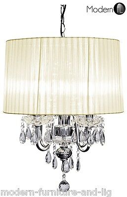 £110.90 • Buy Crystal Droplet 4 Light Chandelier With Cream Ribbed Shade, Cream Ceiling Light