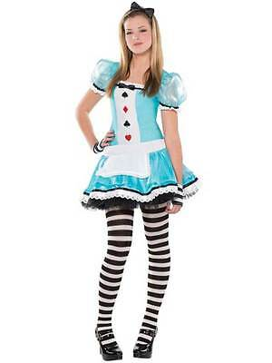 Teen Clever Alice In Wonderland Costume Girls Book Day Fancy Dress Age 10-16 • 17.99£