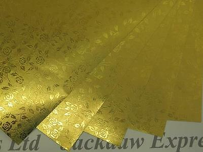 Gold Rose Foil Lined Paper 110gsm 1-Sided (Brown Reverse) X 20 Choose A4/A5 • 3.45£