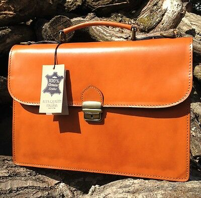 Handcrafted Tan Italian Leather Briefcase Laptop Satchel Bag Gift Messenger Ipad • 59£