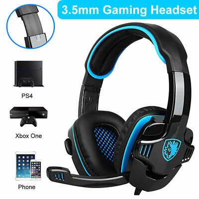 AU31.89 • Buy Sades 3.5mm Gaming Headset Stereo Surround Headphone For PS4 Xbox One PC W/ Mic