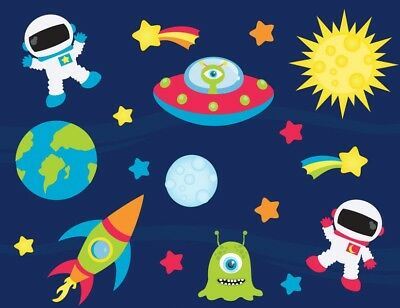 Spaceships Aliens Rockets Spaceman Childrens Nursery Wall Stickers • 14.99£