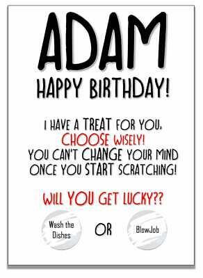 £2.99 • Buy Personalised Funny Rude Birthday Scratch Card For Husband Or Boyfriend. Any Name
