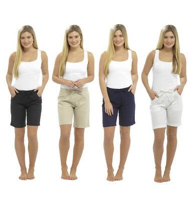 Womens Ladies Linen Summer Casual Shorts UK Size 10 12 14 16 18 • 8.99£