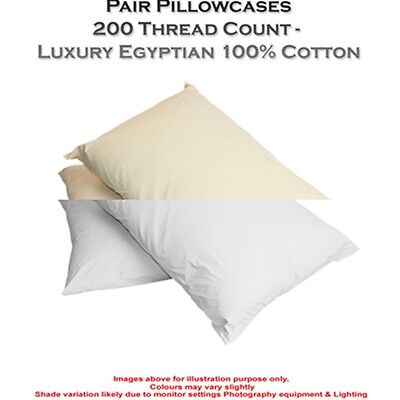 2 X Pillow Case Luxury Housewife 100% Egyptian Cotton 200 Thread Count Pair Pack • 18.90£