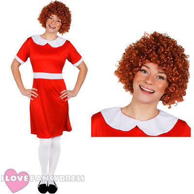 Ladies Little Orphan Fancy Dress Costume With Curly Wig Film Musical Character • 10.99£
