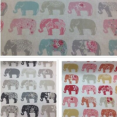 £9.95 • Buy Clarke And Clarke-Studio G-Elephants Cotton Print Fabric.For Upholstery/Curtains