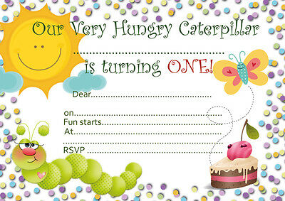10 X Children Birthday Party Invitations Or Thank You Cards Hungry Caterpillar • 4.99£