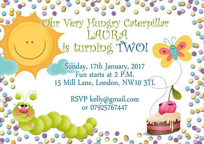 10 X Personalised Birthday Invitations/Thank You Cards HUNGRY CATERPILLAR • 5.49£