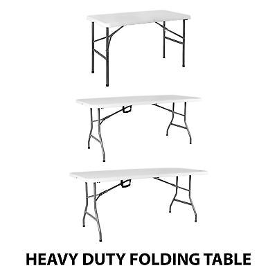 4 5 6ft Folding Table Heavy Duty Trestle Camping Party Picnic BBQ Stall Garden • 38.95£
