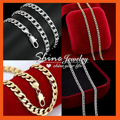AU12.99 • Buy MENS WOMENS GOLD GF SOLID CURB RINGS LINKS CHAIN MULTI LONG NECKLACE For PENDANT