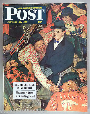 $ CDN40.82 • Buy Saturday Evening Post - January 24, 1948 ~~ Norman Rockwell, Skiers On A Train