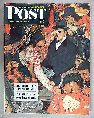 $ CDN40.82 • Buy Saturday Evening Post - January 24, 1948 ~ Norman Rockwell, Skiers On A Train