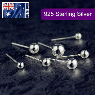 AU4.99 • Buy 925 Sterling Silver Solid Classic Small Ball Bead Earrings Ear Piercing Studs