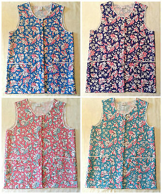 New Ladies Button Front Two Pocket Floral Tabard Overall Cleaning Apron Workwear • 6.25£