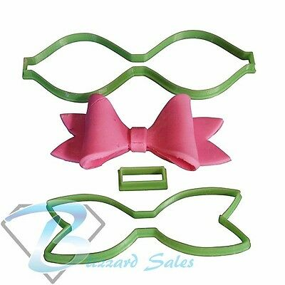Bow Shape Cookie Fondant Cutter 5cm 7cm 10cm Set Birthday Cake Decorating Tools • 15.54£