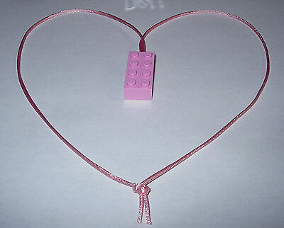 $4.99 • Buy  6 Girl Pink Lego Brick Block Necklaces  Pink Cords Birthday Party Favors