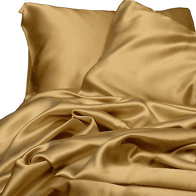 AU79 • Buy Satin Sheet Set QUEEN Size Gold Silk Feel Luxury Bedding NEW Silky Bed Linen New