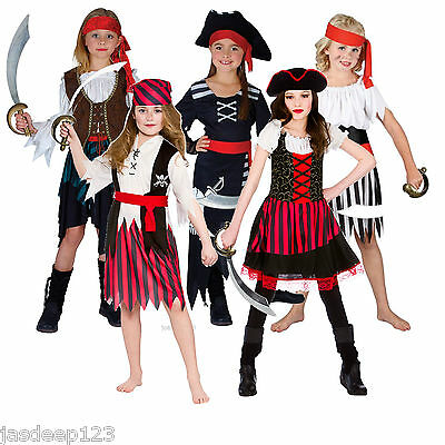 Pirate Girls Fancy Dress Costumes Childrens Kids Book Week Halloween Ages 3-13 • 8.99£