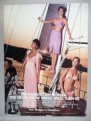 $9.99 • Buy Sweet Nothings Lingerie By Maidenform PRINT AD - 1981 ~~ Sailboat At Sunset