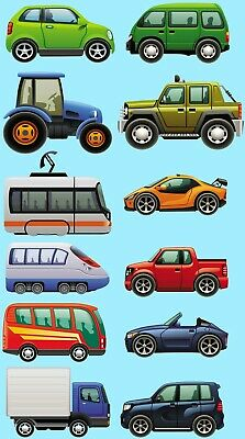 Vehicles Tractor Racecar Cars Bus Tram Train Childrens Nursery Wall Stickers • 9.99£
