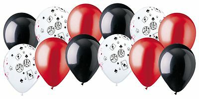 $7.49 • Buy 12 Pc Casino & Poker Night Inspired Latex Balloon Party Decoration Cards & Dice