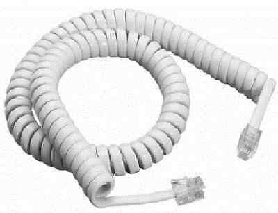 £1.90 • Buy Telephone Phone Curly Coiled Handset Lead Cable Cord Wire Rj10 Plug White 3m