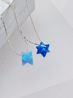 Blue Opal Merkaba Pendant 925 Sterling Silver Necklace David Star Judaica Jewish • 15.92£