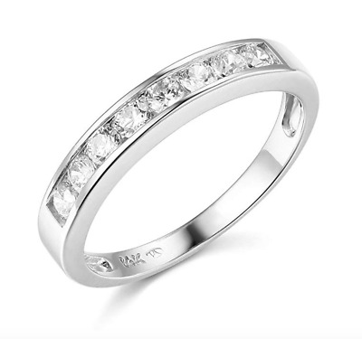 $184.78 • Buy 1.50 Ct Round Cut Real 14k White Gold Engagement Wedding Anniversary Band Ring