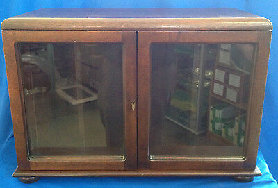 Solid Mahogany Book Case With Glass Doors With Solid Brass Lion Handles • 79.99£