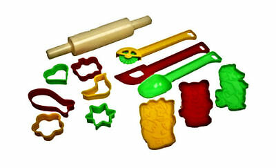 Childs Kids Baking Pastry Set Rolling Pin Shape Cutters Kitchen Play New Boxed • 5.95£