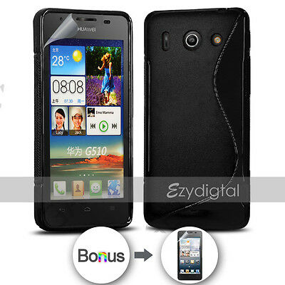 AU3.99 • Buy NEW BLACK S CURVED GEL CASE FOR Telstra Huawei Ascend G510 + Screen Protector