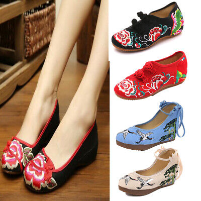 Womens Chinese Embroidered Floral Flat Shoes Comfort Casual Cloth Shoes Slip On • 10.67£