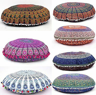 £12.99 • Buy 32  INDIAN MANDALA ROUND TAPESTRY FLOOR CUSHION PILLOW POUF COVER Bohemian Throw
